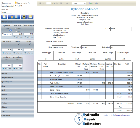 Cylinder Repair Estimator